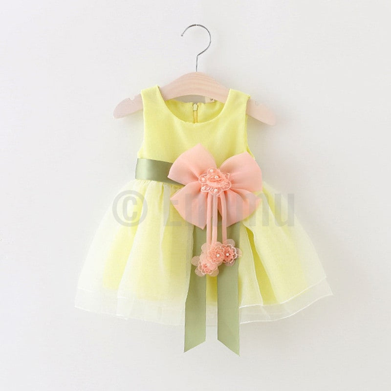 Lemon Yellow Big Flower Dress - Enumu