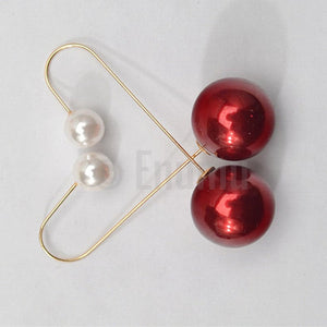 Red Double side Long dangle earrings - Enumu