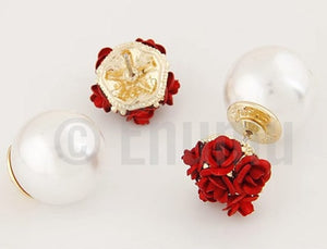 Six Rose and Pearl Double Side Stud Earrings - Enumu
