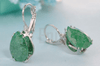 WGP Green Ice Stone Clip on Earrings