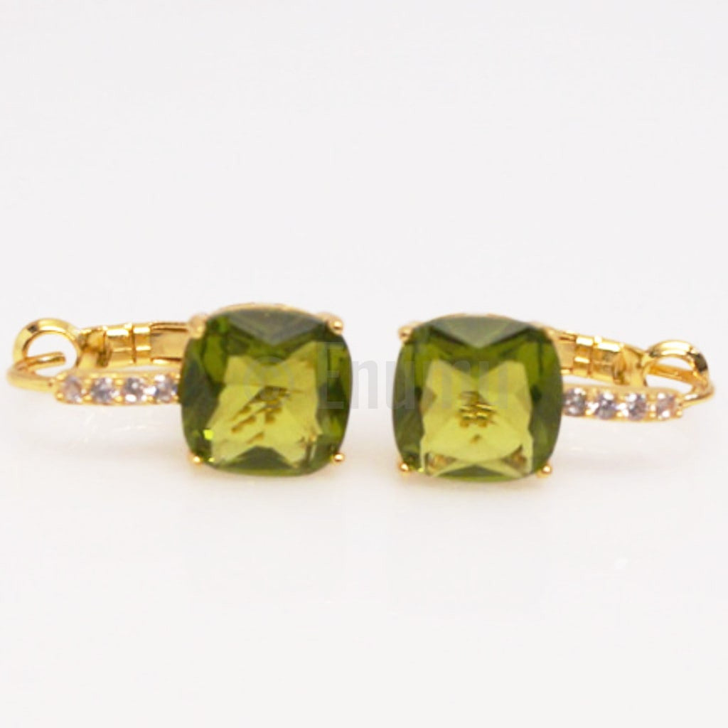 YGP Light Green Peridot Hoops - Enumu  - 1