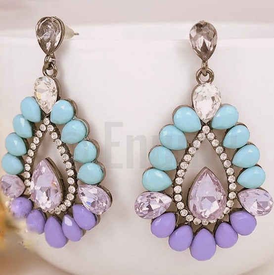 Super Big Purple Dangle Earrings - Enumu