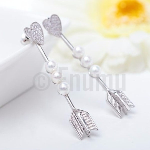 WGP Lovestruck Heart and Arrow Pearl Earrings - Enumu
