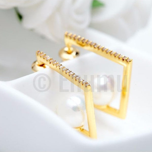 18K Yellow Gold Simple Pearl hoops - Enumu
