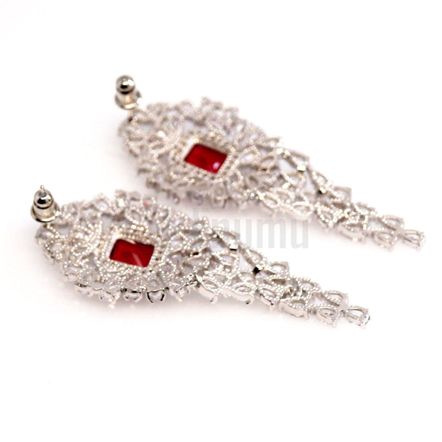 Big Diamond imitation Ruby and Swiss Zircon Earrings - Enumu