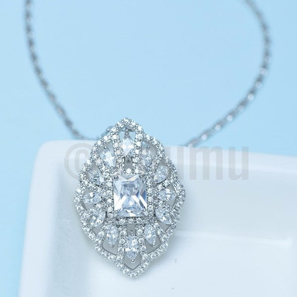 Super Big Swiss CZ Pendant with Chain - Enumu  - 1