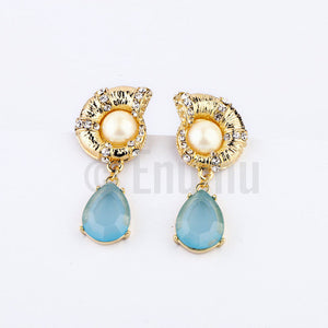 Pearl and Light Blue Dangle Earrings - Enumu
