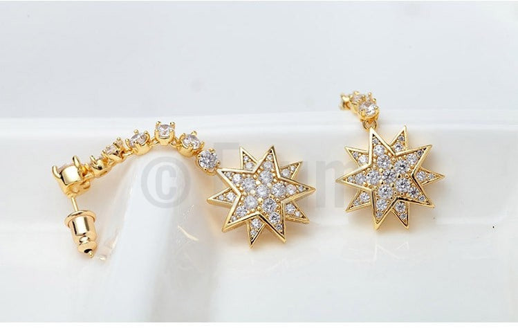 Double Star Dangle Drop Earrings - Enumu