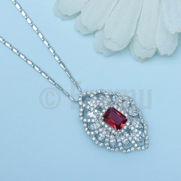 Super Big Swiss CZ and Ruby Pendant with Chain - Enumu
