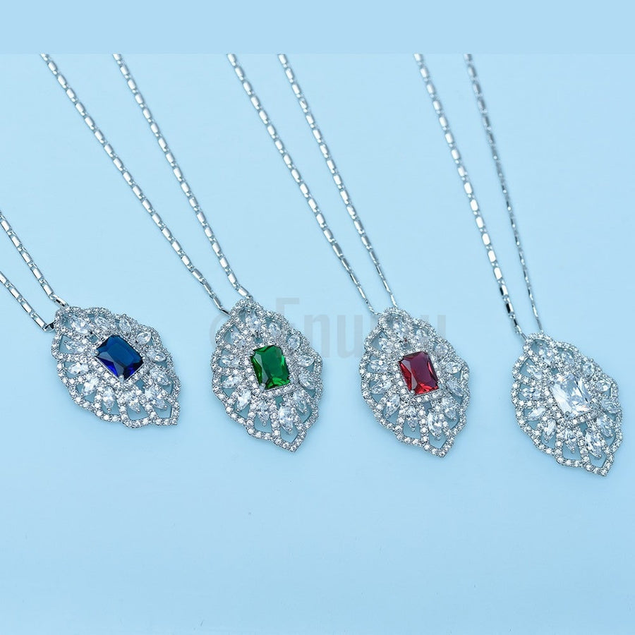 Super Big Swiss CZ Pendant with Chain - Enumu