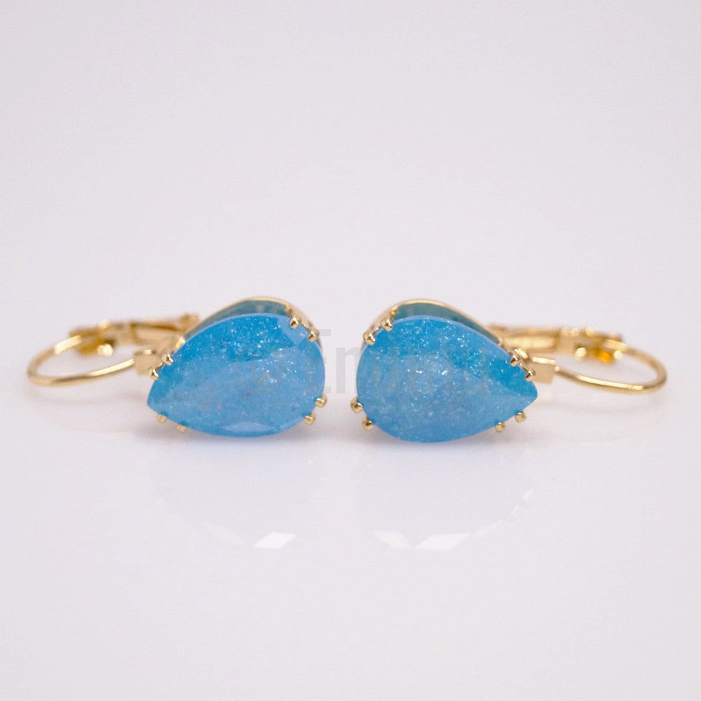 YGP Blue Ice Stone Clip on Earrings