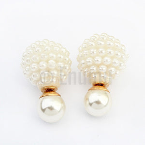 White Pearl Double Side Studs - Enumu