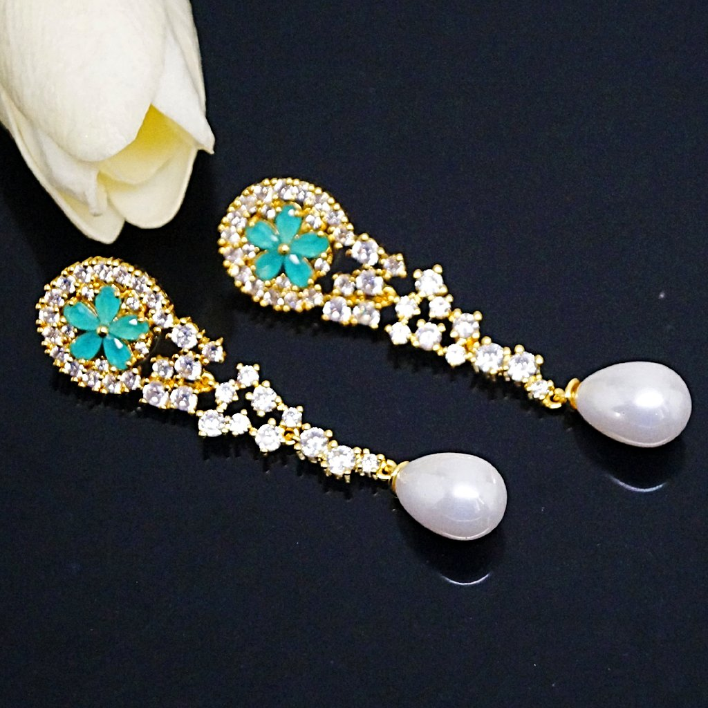 Emerald Pearl Long Dangle Earrings