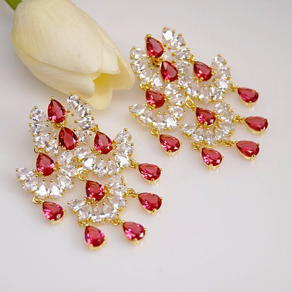 Huge Ruby Multi Layer Dangle Earrings
