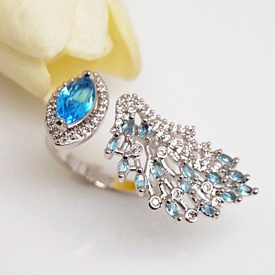 Aquamarine Adjustable Ring - Enumu
