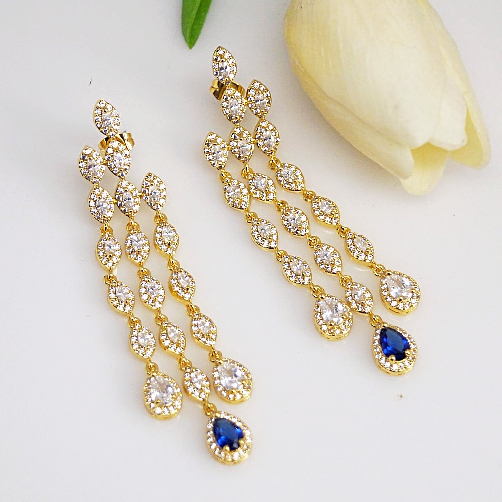 Blue Sapphire CZ Dangle earrings