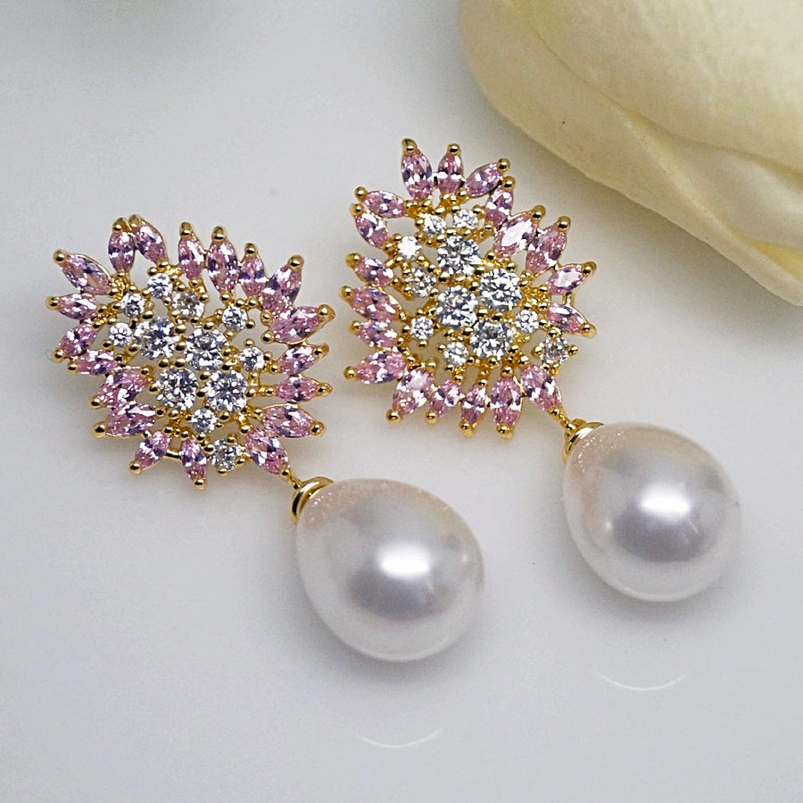 Pink Tourmaline and CZ Pearl Dangle Earrings - Enumu