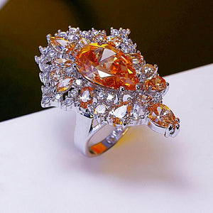Huge Champagne Stone Ring - Enumu