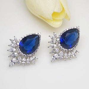 Super Big Blue Sapphire Drop Stud Earrings - Enumu