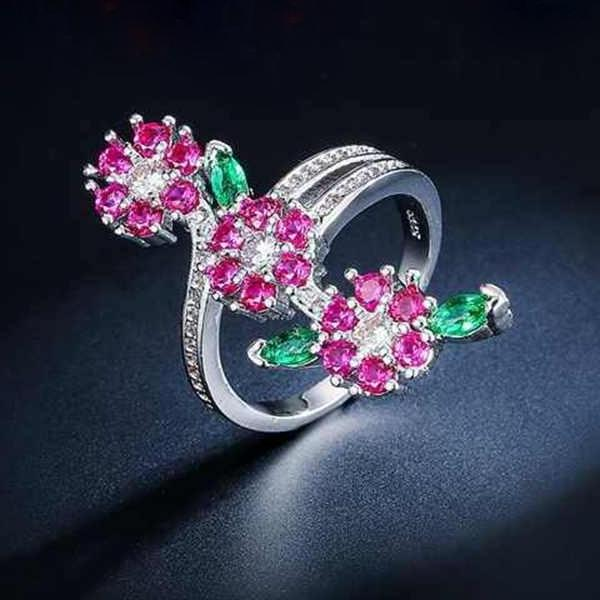Ruby Flower and Leaves Ring