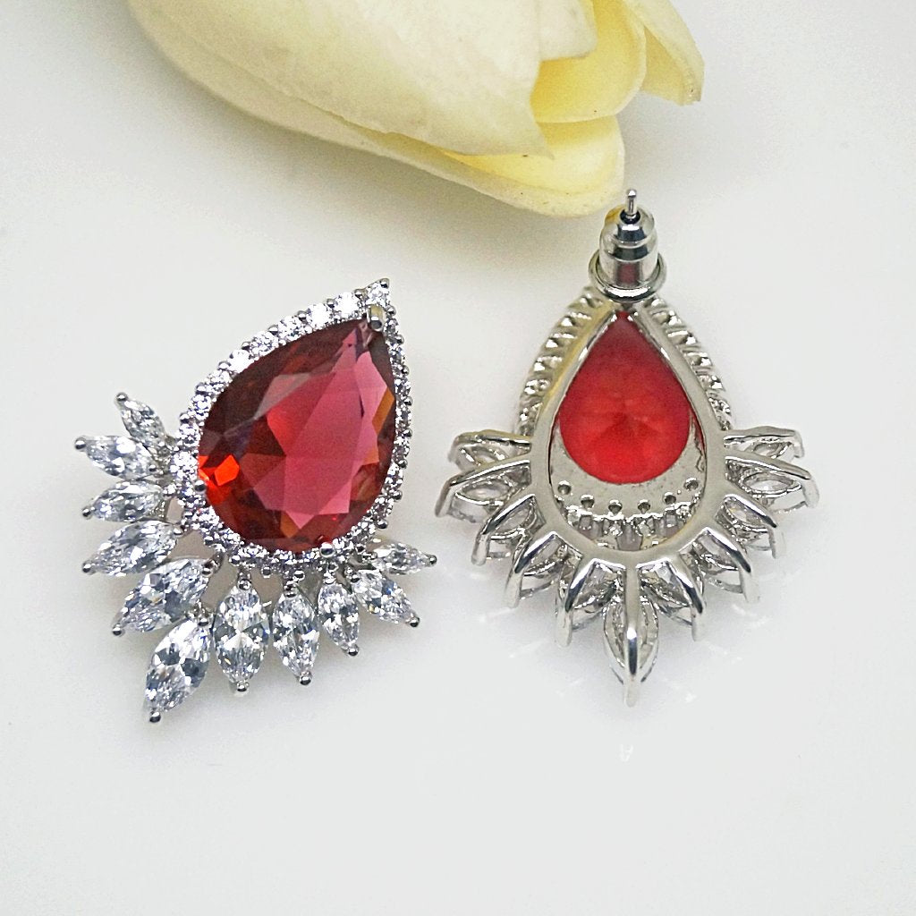 Super Big Ruby Drop Stud Earrings