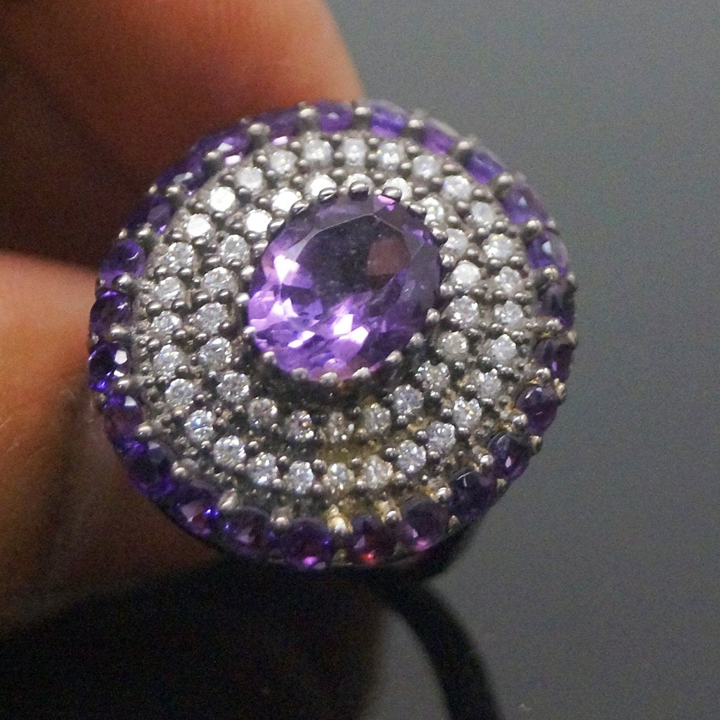 Pure Silver Amethyst Ring