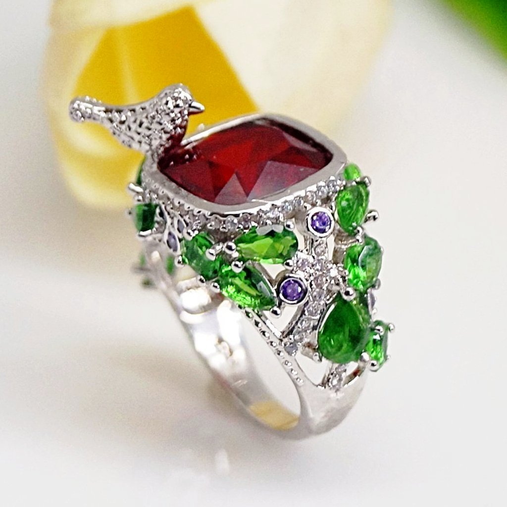Ruby Emerald Bird Ring