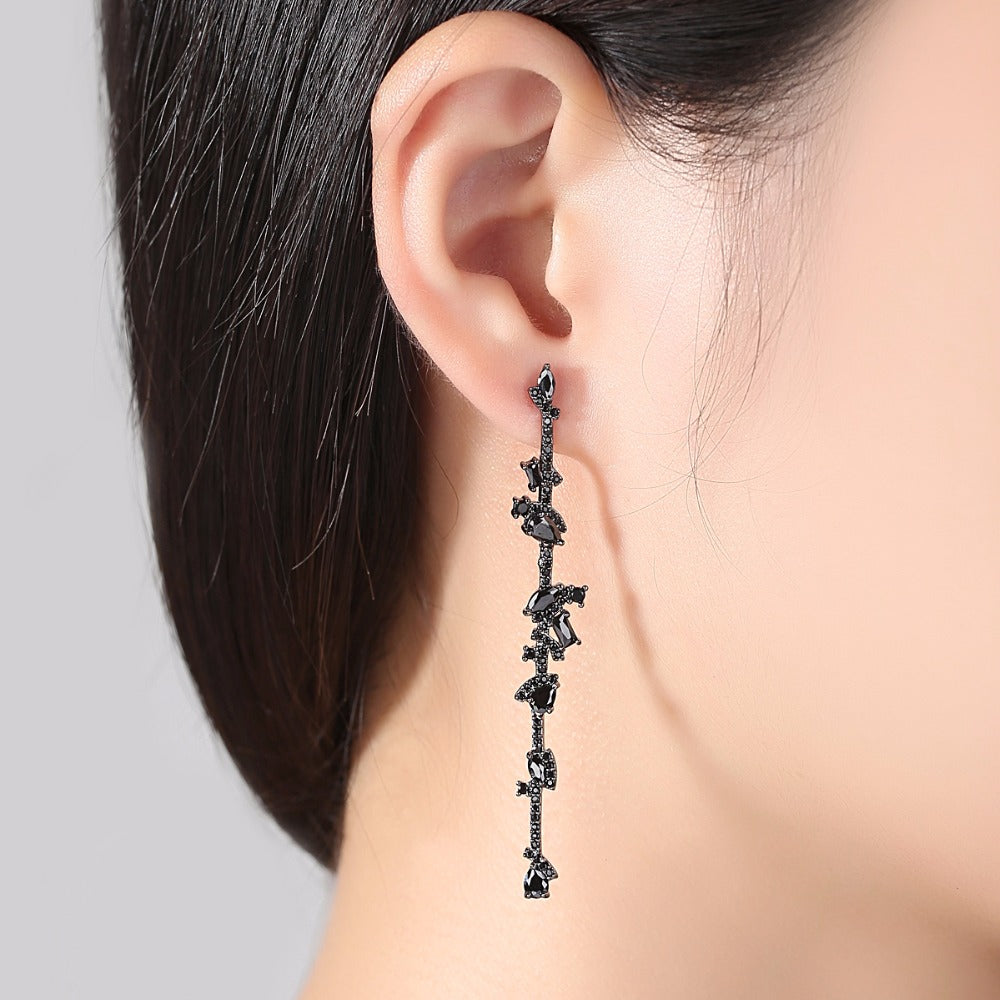 BGP Black Sapphire Dangle Earrings - Enumu