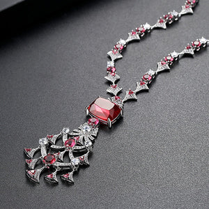 Ruby CZ Short Necklace - Enumu