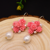 Sterling Silver Coral Pearl Studs