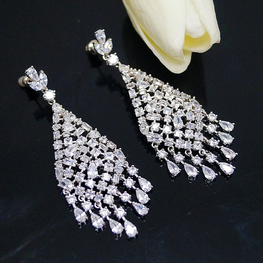 Long Dangle Diamond Earrings  d23133e4ae