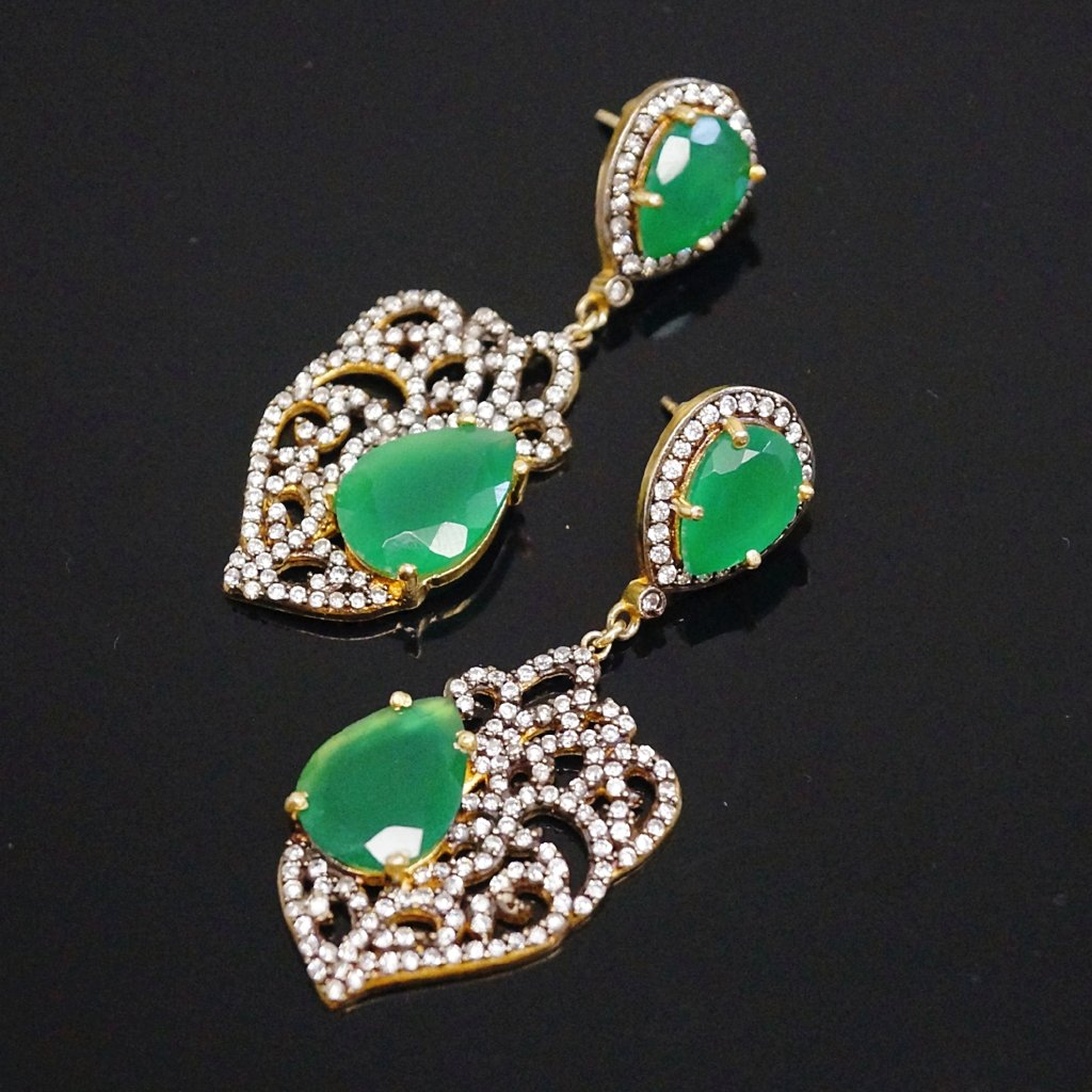 Victorian Pure 92.5 Silver Green Onyx & CZ Dangle Earrings