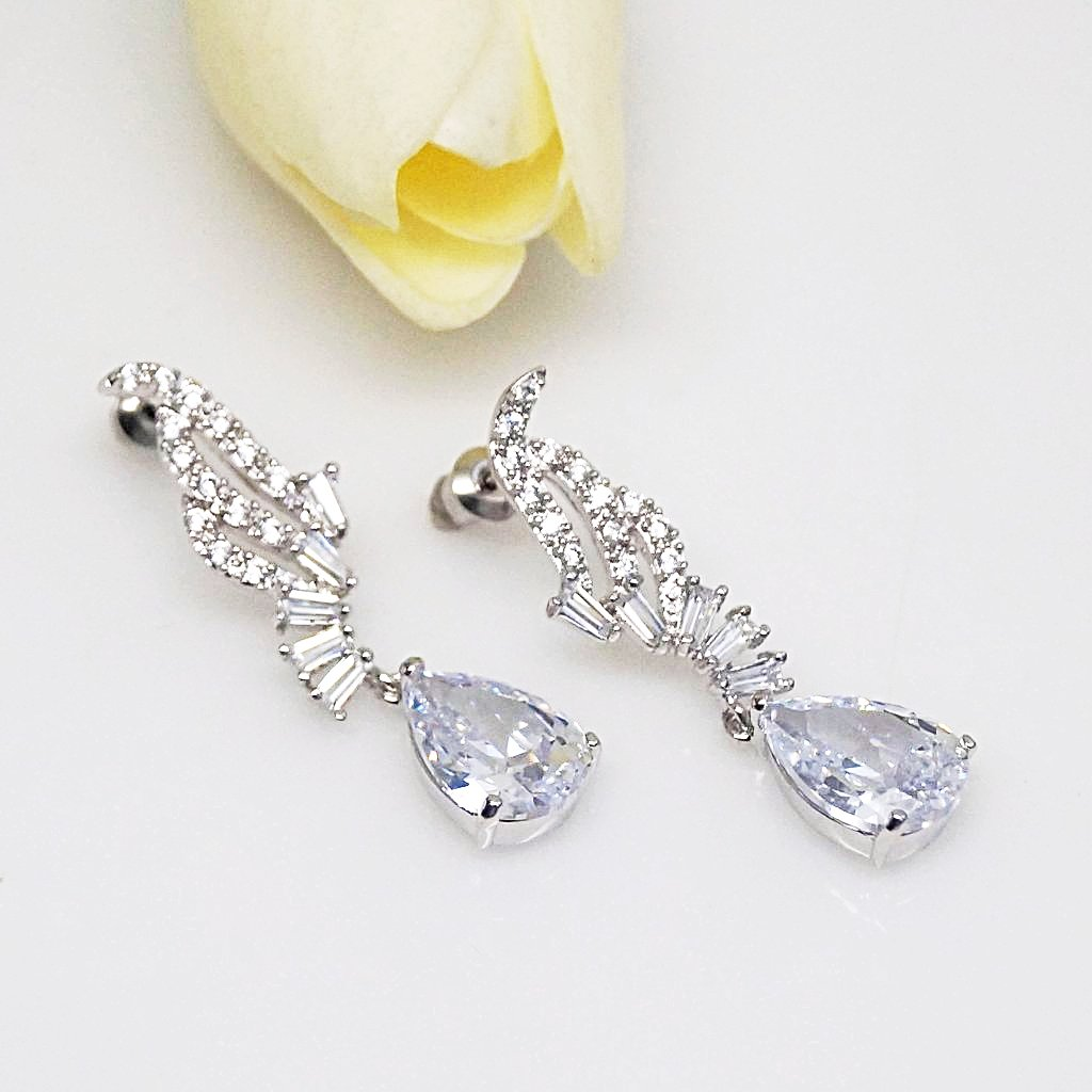 Swiss Zircon Drop Dangle Earrings