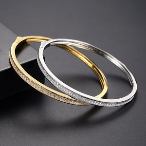 Yellow Gold Plated Diamond Imitation Bangle (Can be Opened ) - Enumu