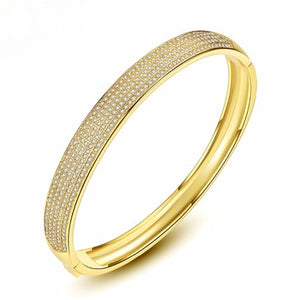 Broad Swiss CZ Wedding Bangle ( Can be Opened) - Enumu