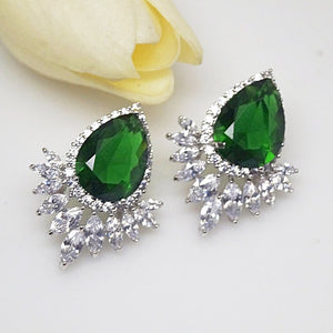 Super Big Emerald Drop Stud Earrings - Enumu