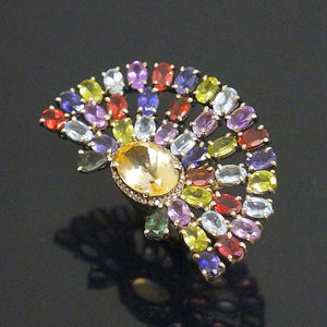 Pure Silver Citrine Tourmaline Ring - Enumu