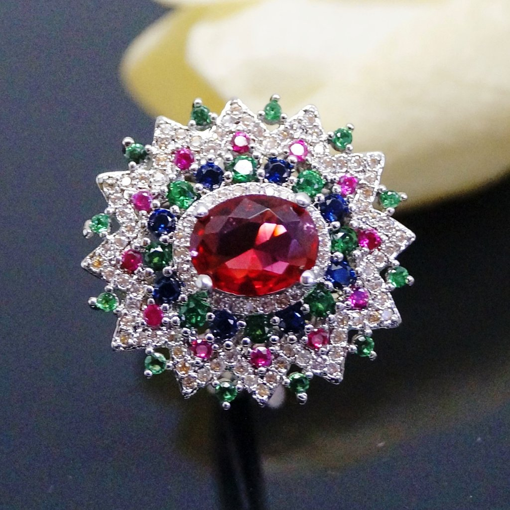 Super Big Multi Colour Ruby Ring
