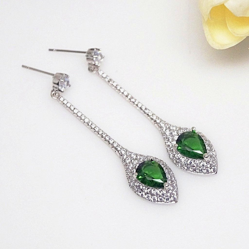 Emerald Designer Long Dangle Earrings