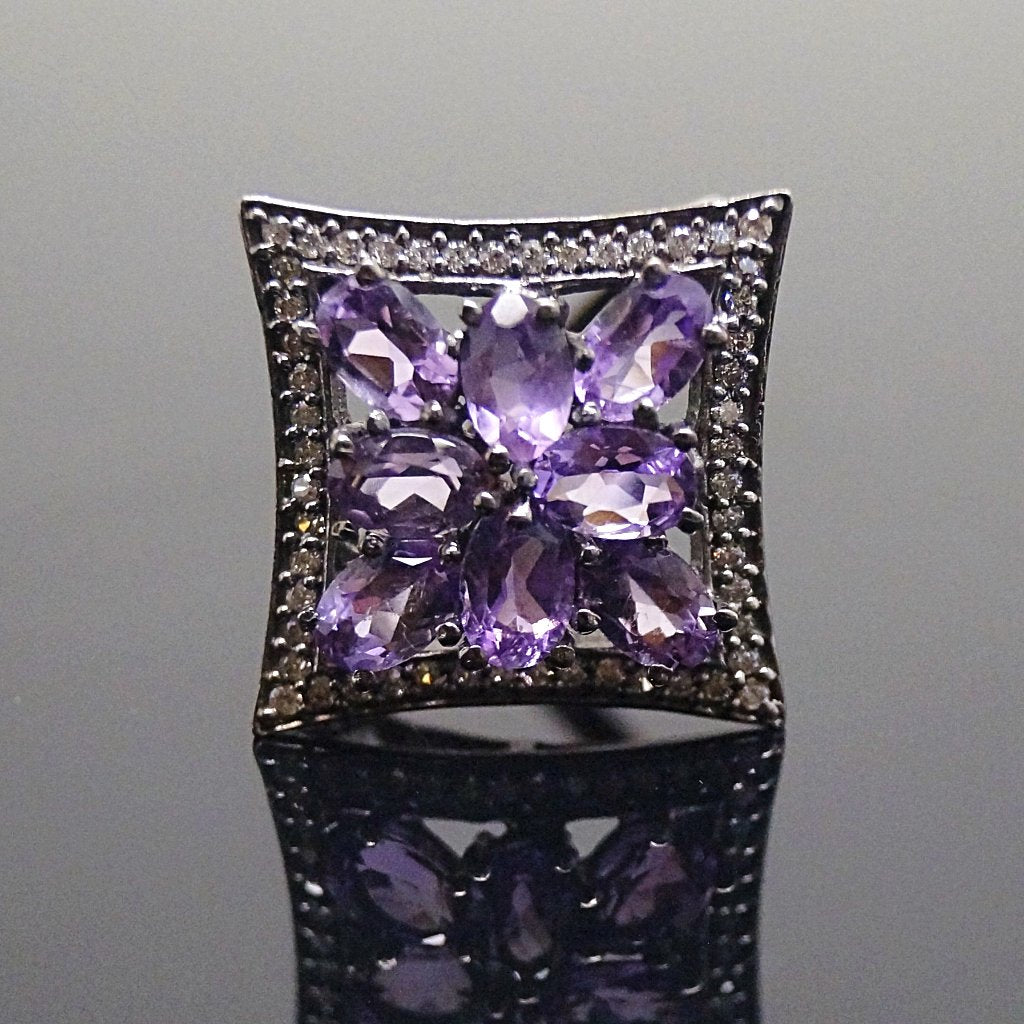 Victorian Pure 92.5 Sterling Silver Real Amethyst Ring