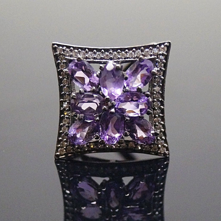 Victorian Pure 92.5 Sterling Silver Real Amethyst Ring - Enumu