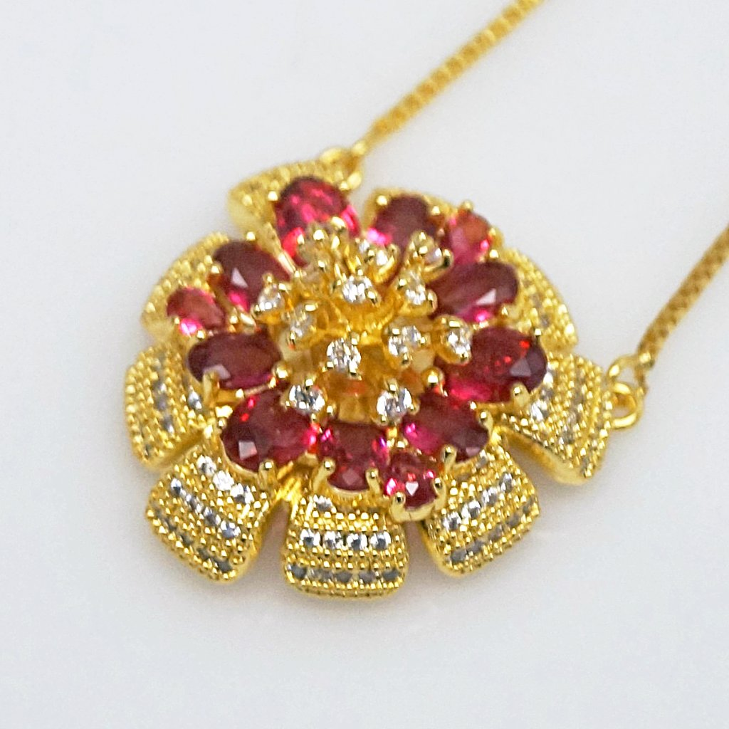 Huge Ruby Flower Pendant