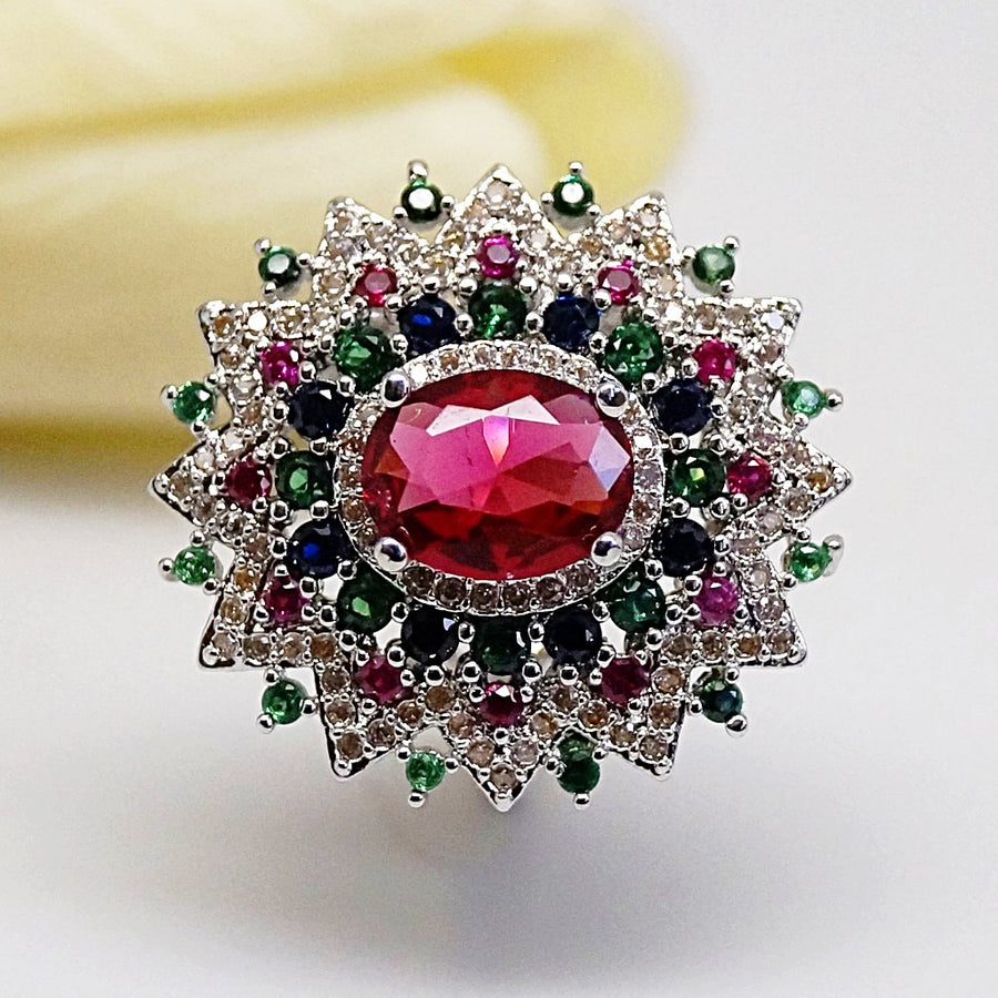 Super Big Multi Colour Ruby Ring - Enumu