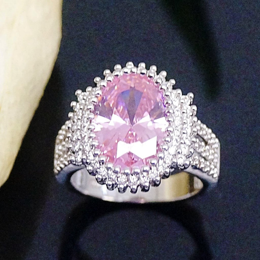 Big Pink Oval Tourmaline Ring - Enumu