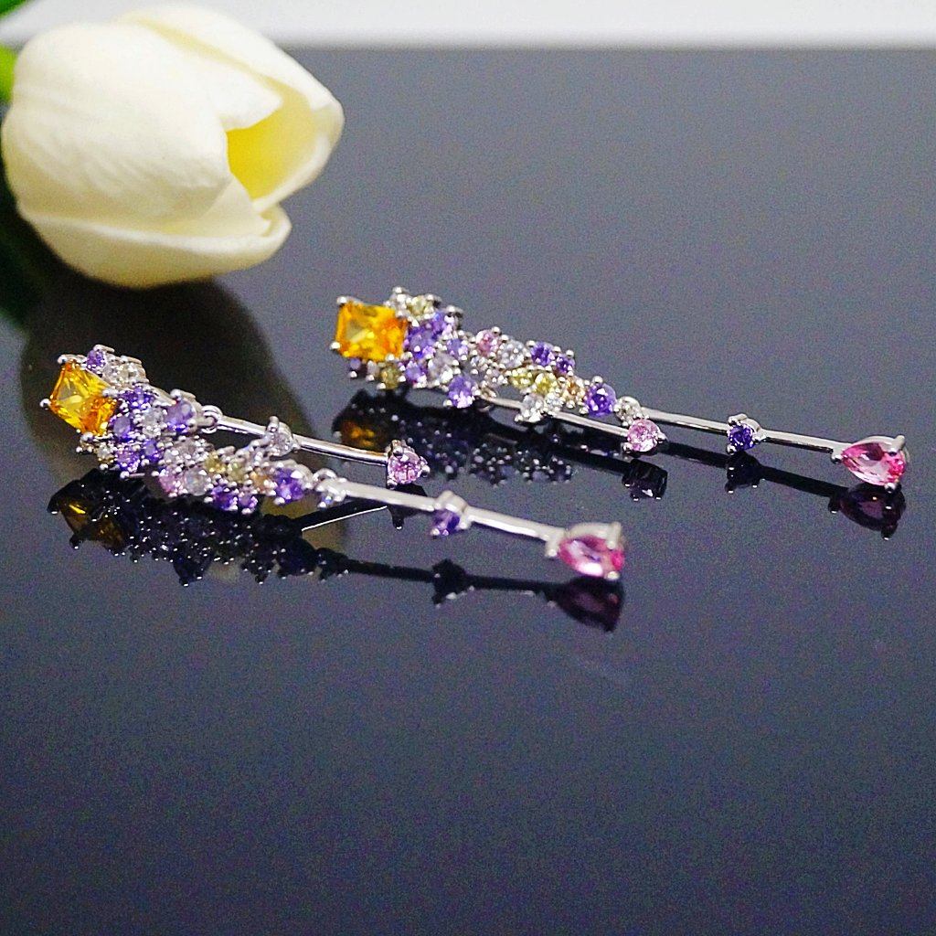 Yellow Citrine & Amethyst Dangle Earrings