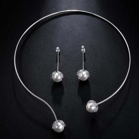 WGP Single Line Coil Pearl Necklace Set