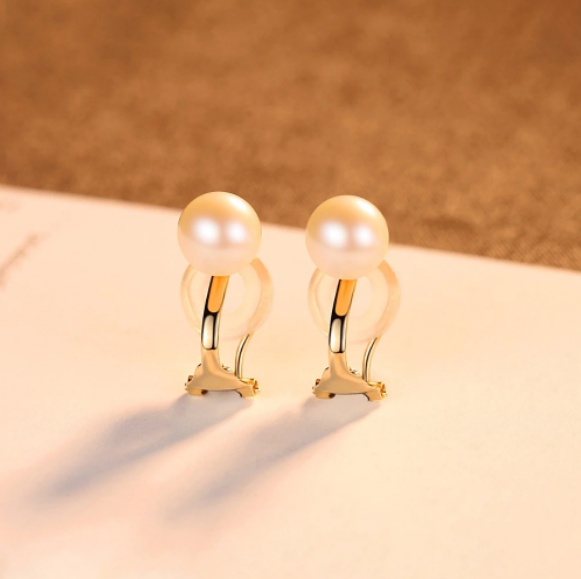 Pure 18K Yellow Gold Natural Round Pearl Clip on Earrings - Enumu