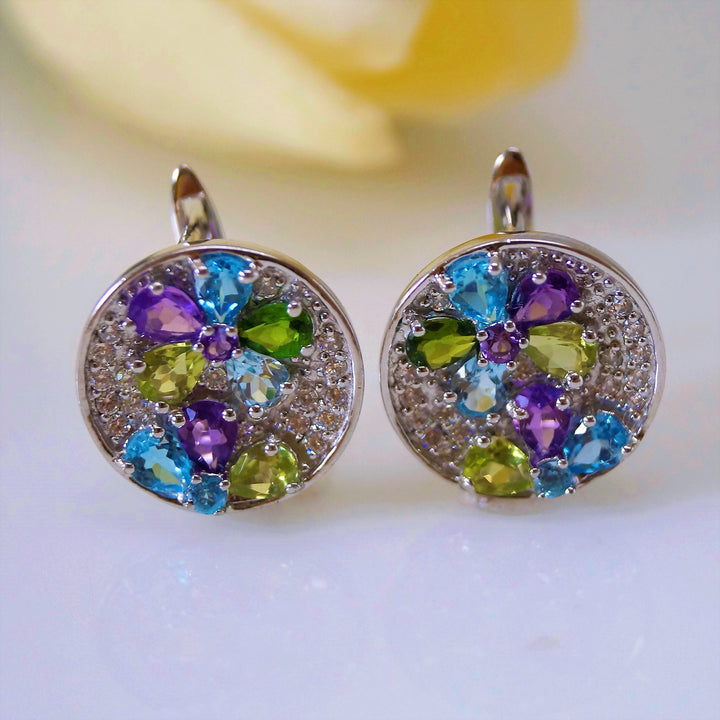 Pure 92.5 Sterling Silver Multi Gem Flower Studs - Enumu