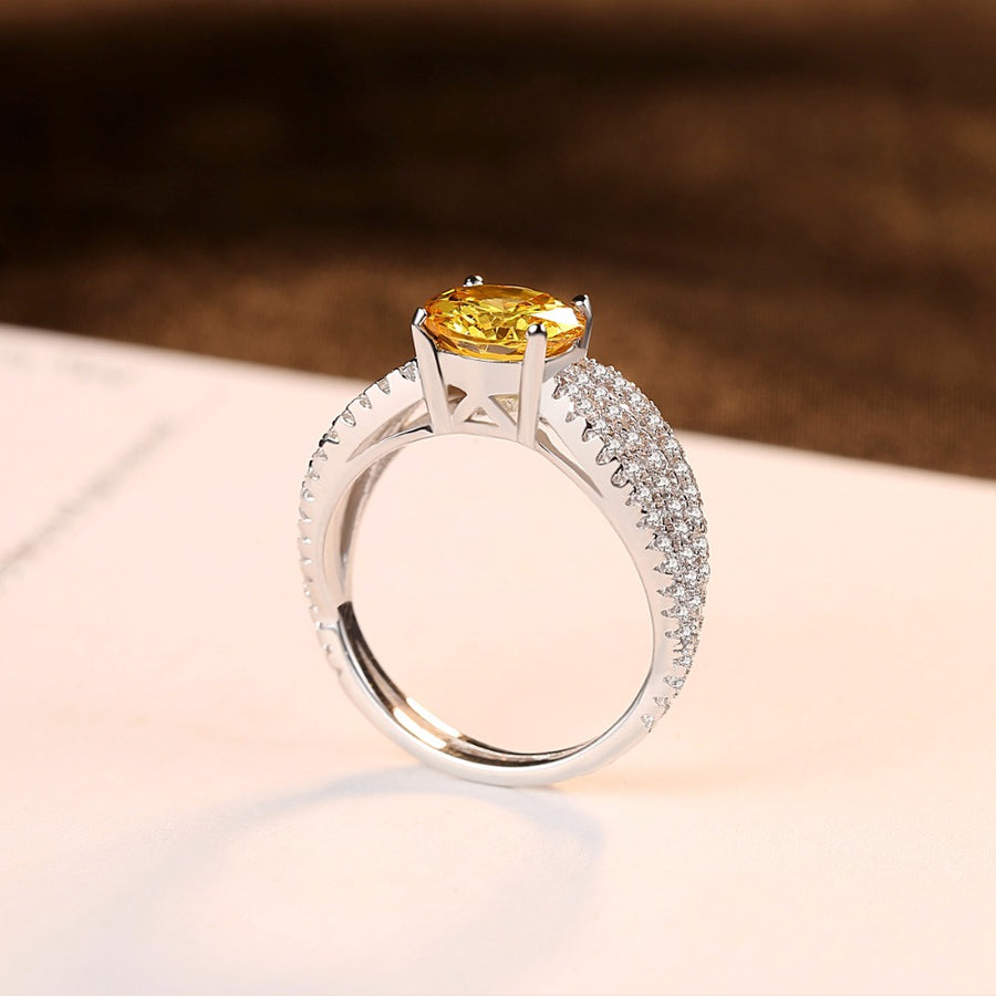 Sterling Silver Citrine Ring - Enumu