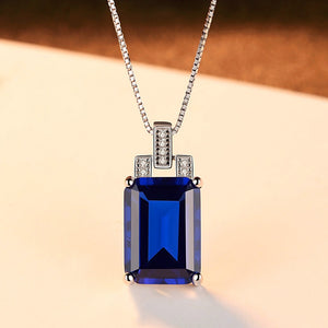 Sterling Silver Blue Sapphire Pendant with Chain - Enumu